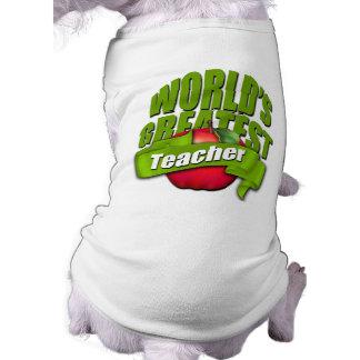 Worlds Greatest Teacher Sleeveless Dog Shirt