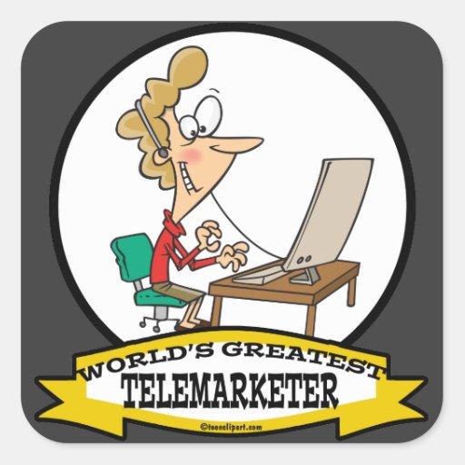 WORLDS GREATEST TELEMARKETER WOMEN CARTOON STICKERS
