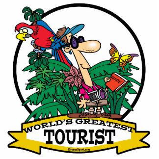 WORLDS GREATEST TOURIST MEN CARTOON STANDING PHOTO SCULPTURE