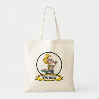 WORLDS GREATEST TWEEN GIRL CARTOON CANVAS BAG