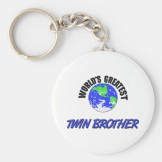 World's Greatest Twin Brother Basic Round Button Key Ring