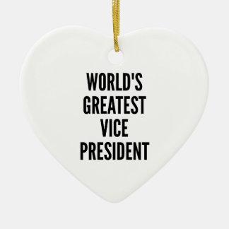Worlds Greatest Vice President Ceramic Heart Decoration
