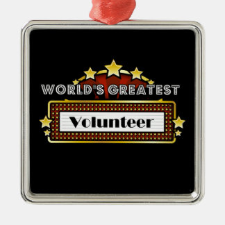 World's Greatest Volunteer Silver-Colored Square Decoration
