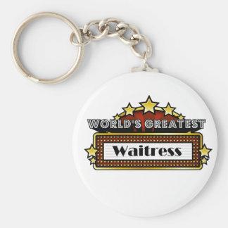 World's Greatest Waitress Basic Round Button Key Ring