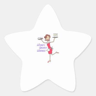 WORLDS GREATEST WAITRESS STAR STICKER