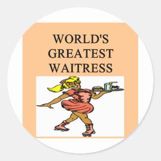 world's greatest waitress round stickers