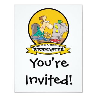 WORLDS GREATEST WEBMASTER MEN CARTOON 11 CM X 14 CM INVITATION CARD