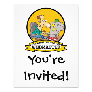 WORLDS GREATEST WEBMASTER MEN CARTOON PERSONALIZED ANNOUNCEMENT
