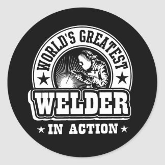 World's Greatest Welder In Action Classic Round Sticker