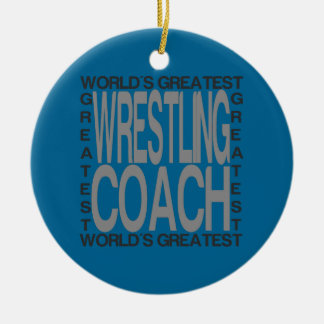 Worlds Greatest Wrestling Coach Round Ceramic Decoration