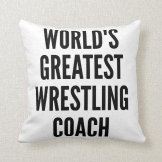 Worlds Greatest Wrestling Coach Throw Cushions