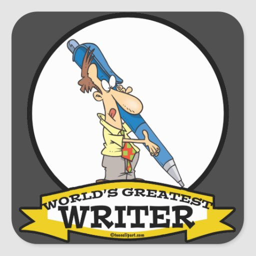 WORLDS GREATEST WRITER III MEN CARTOON SQUARE STICKERS