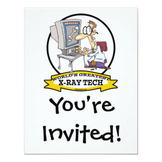 "WORLDS GREATEST XRAY TECH MEN CARTOON 4.25"" X 5.5"" INVITATION CARD"