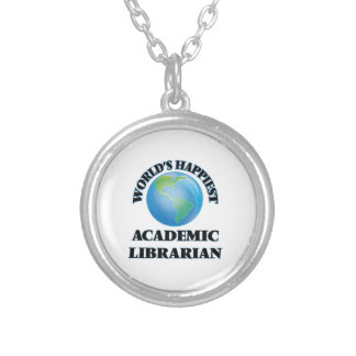 World's Happiest Academic Librarian Round Pendant Necklace