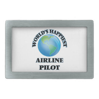 World's Happiest Airline Pilot Rectangular Belt Buckles