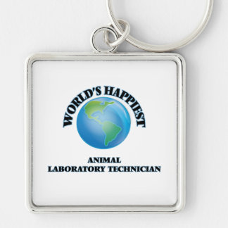 World's Happiest Animal Laboratory Technician Silver-Colored Square Key Ring