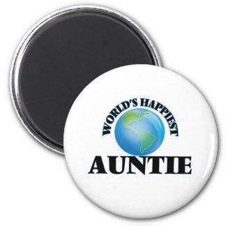 World's Happiest Auntie 6 Cm Round Magnet