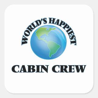 World's Happiest Cabin Crew Square Sticker