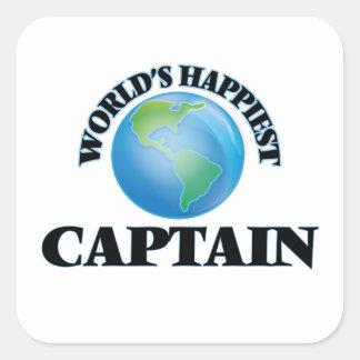 World's Happiest Captain Square Sticker