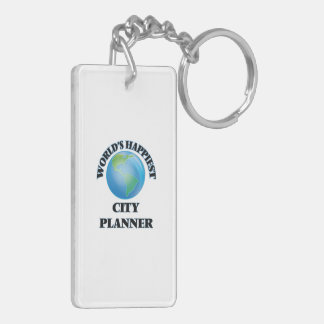 World's Happiest City Planner Double-Sided Rectangular Acrylic Keychain