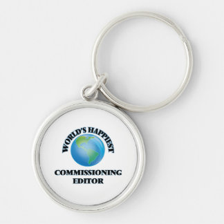 World's Happiest Commissioning Editor Silver-Colored Round Key Ring