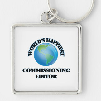 World's Happiest Commissioning Editor Silver-Colored Square Key Ring