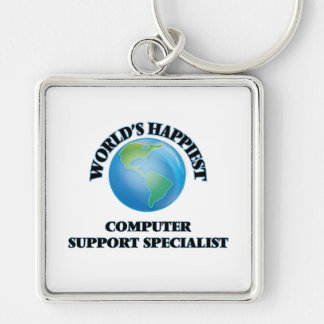 World's Happiest Computer Support Specialist Silver-Colored Square Key Ring