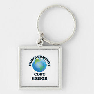 World's Happiest Copy Editor Silver-Colored Square Keychain
