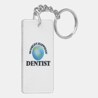 World's Happiest Dentist Double-Sided Rectangular Acrylic Key Ring
