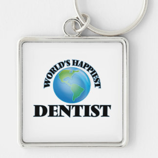 World's Happiest Dentist Silver-Colored Square Key Ring