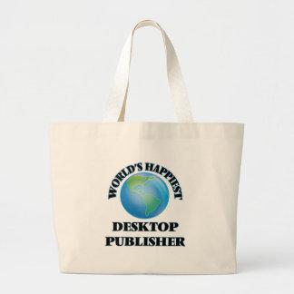 World's Happiest Desktop Publisher Jumbo Tote Bag