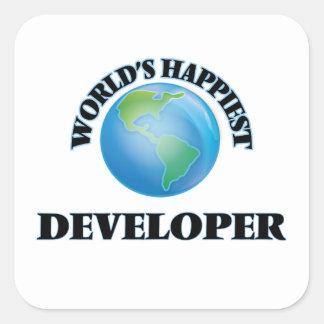 World's Happiest Developer Square Sticker