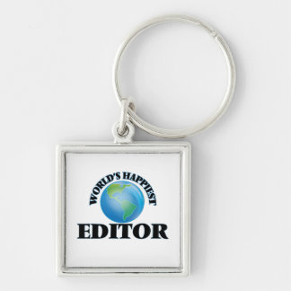 World's Happiest Editor Silver-Colored Square Keychain