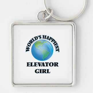 World's Happiest Elevator Girl Silver-Colored Square Key Ring