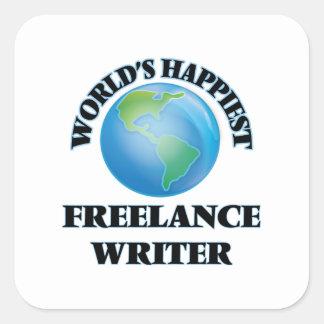 World's Happiest Freelance Writer Square Sticker