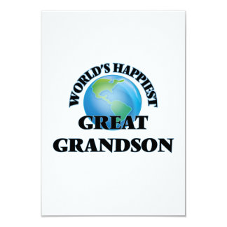 World's Happiest Great Grandson 9 Cm X 13 Cm Invitation Card