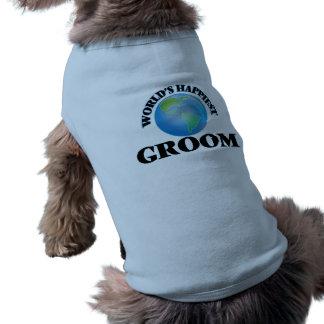 World's Happiest Groom Sleeveless Dog Shirt
