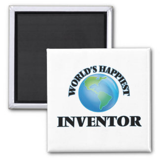 World's Happiest Inventor 2 Inch Square Magnet
