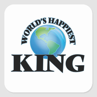 World's Happiest King Square Sticker