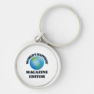 World's Happiest Magazine Editor Silver-Colored Round Keychain