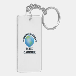 World's Happiest Mail Carrier Double-Sided Rectangular Acrylic Key Ring