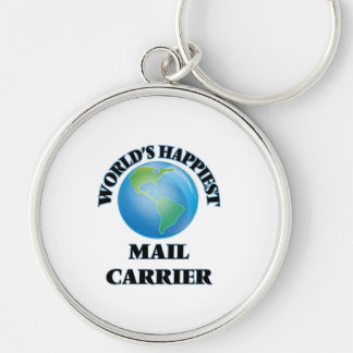 World's Happiest Mail Carrier Silver-Colored Round Key Ring
