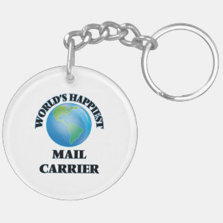 World's Happiest Mail Carrier Double-Sided Round Acrylic Key Ring