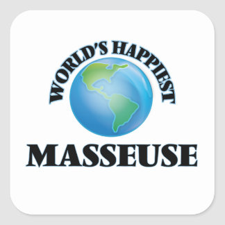 World's Happiest Masseuse Square Sticker