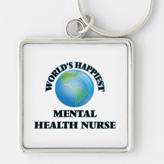 World's Happiest Mental Health Nurse Silver-Colored Square Key Ring