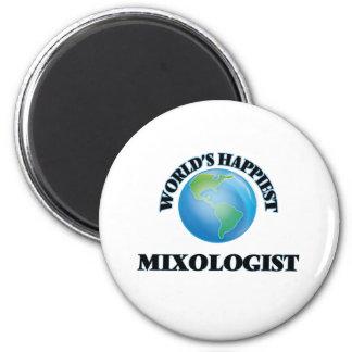 World's Happiest Mixologist 2 Inch Round Magnet