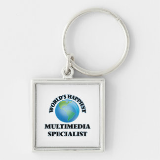 World's Happiest Multimedia Specialist Silver-Colored Square Key Ring