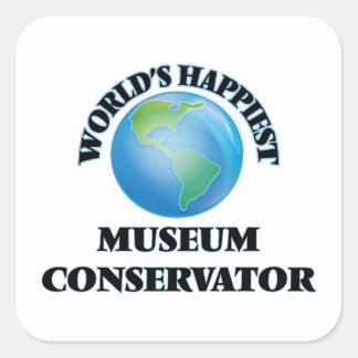 World's Happiest Museum Conservator Square Sticker