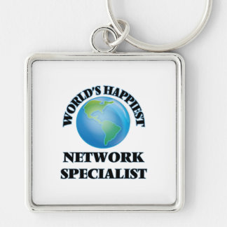 World's Happiest Network Specialist Silver-Colored Square Key Ring