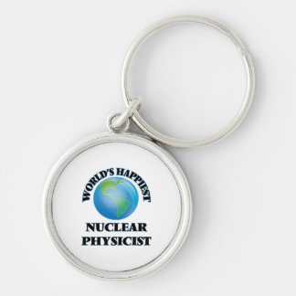 World's Happiest Nuclear Physicist Silver-Colored Round Key Ring